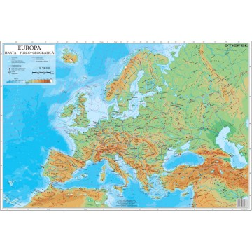 Harta fizica a Europei mapa de birou