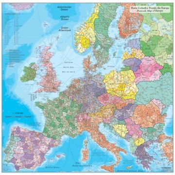 Harta Europei cu codurile postale mapa de birou