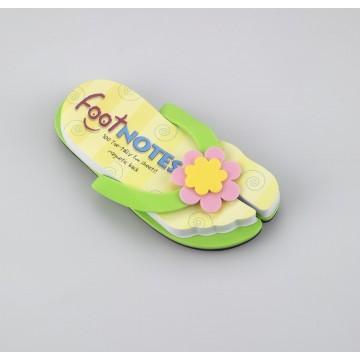 Carnetel in forma de papuc de plaja Verde cu floare