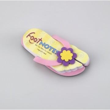 Carnetel in forma de papuc de plaja Roz cu floare