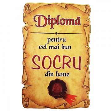 Magnet Diploma pentru Cel mai bun SOCRU din lume, lemn