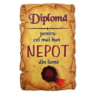 Magnet Diploma pentru Cel mai bun NEPOT din lume, lemn