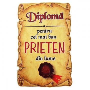 Magnet Diploma pentru Cel mai bun PRIETEN din lume, lemn