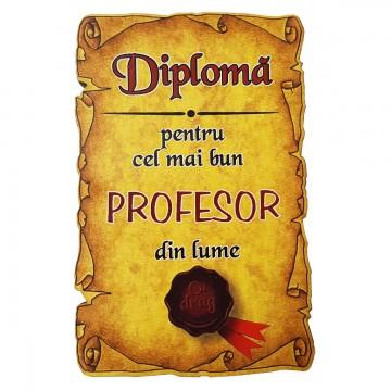 Magnet Diploma pentru Cel mai bun PROFESOR din lume, lemn