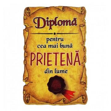Magnet Diploma pentru Cea mai buna PRIETENA din lume, lemn