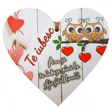 Tablita Te iubesc, din lemn