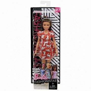 Papusa Barbie, fashionista cu rochita cu imprimeuri