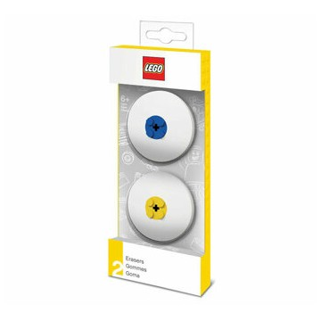 LEGO, Set 2 radiere - albastru si galben