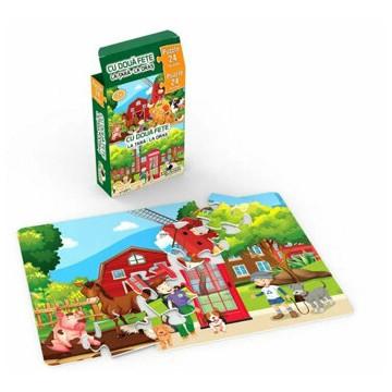 Mini Puzzle cu doua fete - La tara, la oras, 24 piese